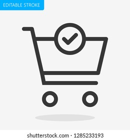 Shopping Cart Editable Stroke Pixel Perfect Icon Vector