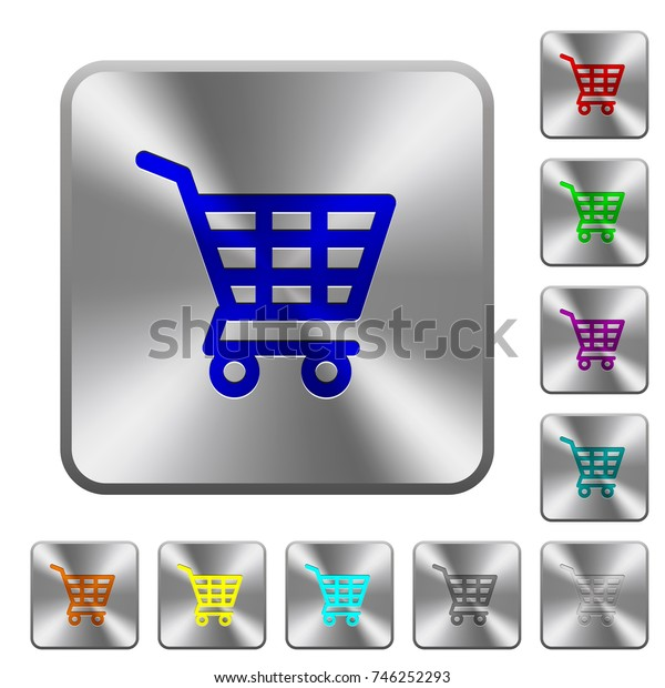 Shopping cart engraved icons on rounded square glossy steel buttons