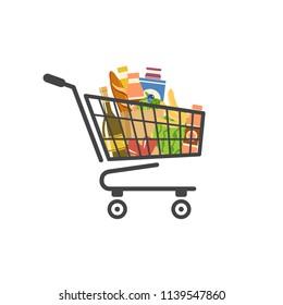 Warenkorb gefüllt mit Lebensmitteln, einzelne Vektorgrafik