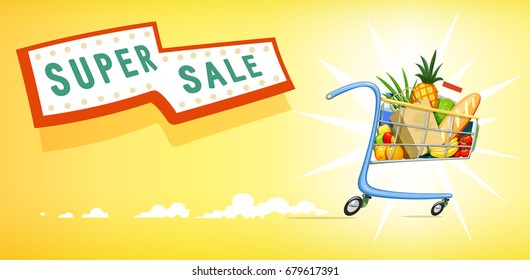 Shopping cart with foodstuff. Supermarket equipment for buying products. Shop trolley. Yellow background. Vector illustration.