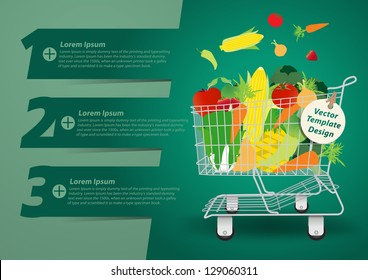 Shopping cart with fruits and vegetables, With Modern Design template / infographics / numbered banners, Vector presentation with letters numbers