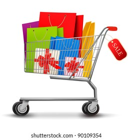 Shopping cart full of shopping bags and gift boxes. With a sale label. Vector.