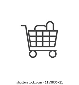 Shopping cart full of groceries products outline icon. linear style sign for mobile concept and web design. shopping trolley simple line vector icon. Symbol, logo illustration. Pixel perfect vector