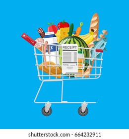 Shopping cart full of groceries products and receipt. Grocery store. Supermarket. Fresh organic food and drinks. Vector illustration in flat style