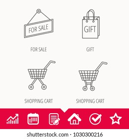 Shopping cart, gift bag and sale icons. For sale linear sign. Edit document, Calendar and Graph chart signs. Star, Check and House web icons. Vector