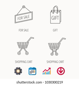 Shopping cart, gift bag and sale icons. For sale linear sign. Calendar, Graph chart and Cogwheel signs. Download colored web icon. Vector