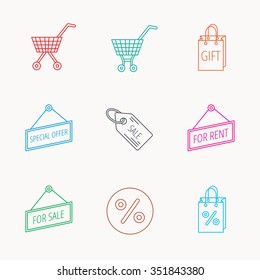 Shopping cart, gift bag and sale coupon icons. Special offer label linear signs. Discount icon. Linear colored icons.