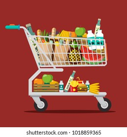 Shopping Cart with Goods. Trolley with Food. Vector Flat Design Illustration.