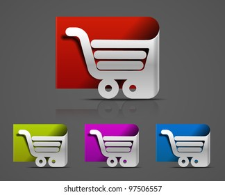 shopping cart icon, shopping basket design- vector illustration