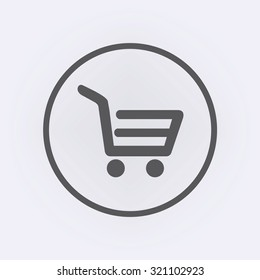 Shopping cart icon in circle . Vector illustration