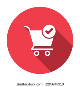 Shopping cart icon, commerce icon with check sign. Shopping cart icon and approved, confirm, done, tick, completed symbol. Vector illustration