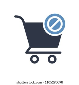 Shopping cart icon, commerce icon with not allowed sign. Shopping cart icon and block, forbidden, prohibit symbol. Vector illustration
