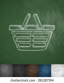 shopping cart icon. Hand drawn vector illustration. Chalkboard Design