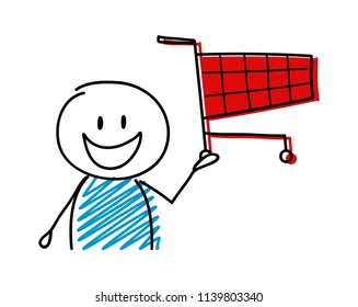 Shopping cart icon with happy stickman. Vector.