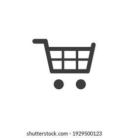 Shopping Cart Icon Isolated on Black and White Vector Graphic