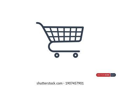 Shopping Cart Icon Line isolated on White Background. Flat Vector Illustration Usable for Web and Mobile Apps. Shopping Trolley Vector Icon Design Template Element.