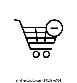 Shopping cart icon with minus. Remove from cart. E-commerce sign. Graph symbol for your web site design, logo, app, UI. Vector illustration, EPS10.