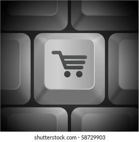 Shopping Cart Icon on Computer Keyboard Original Illustration