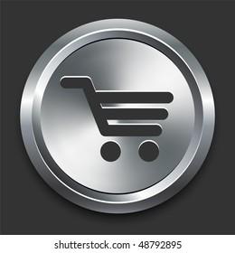 Shopping Cart Icon on Metal Internet Button Original Vector Illustration