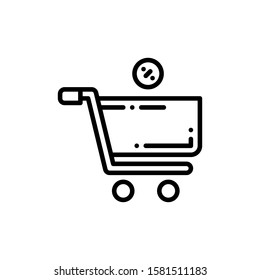 Shopping Cart Icon Outline Vector. Holiday Sale Icons. Online Shop Ikon.