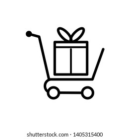 Shopping Cart Icon - Packaging or Gift Illustration As A Simple Vector Sign & Trendy Symbol for Design and Websites, Presentation or Mobile Application.