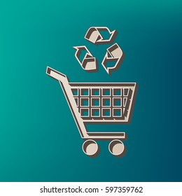 Shopping cart icon with a recycle sign Vector. Icon printed at 3d on sea color background.