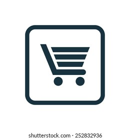 shopping cart icon Rounded squares button, on white background