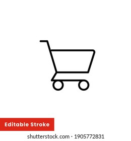 Shopping cart icon. Simple line style for web template and app. Shop, basket, bag, store, online, purchase, buy, retail, vector illustration design on white background. Editable stroke EPS 10