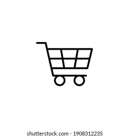 Shopping cart icon. Simple line style for web template and app. Shop, basket, bag, store, online, purchase, buy, retail, vector illustration design on white background. EPS 10