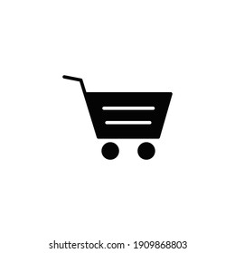 Shopping cart icon. Simple solid style for web template and app. Shop, basket, bag, store, online, purchase, buy, retail, vector illustration design on white background. EPS 10