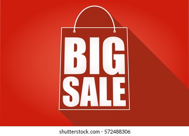 Shopping cart, icon, symbol purchases and sales on a juicy red background. A large inscription in white letters Big sale