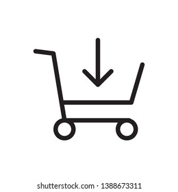 Shopping cart icon in trendy outline style design. Vector graphic illustration. Trolley symbol for website design, logo, app, and ui. Editable vector stroke. EPS 10.