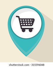 Shopping cart icon, vector illustration eps 10