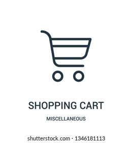 shopping cart icon vector from miscellaneous collection. Thin line shopping cart outline icon vector illustration. Linear symbol for use on web and mobile apps, logo, print media.