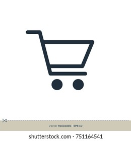 Shopping Cart Icon Vector. Trolley Logo Template