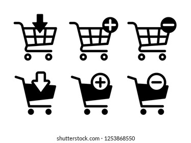 Shopping cart icons set, Supermarket trolley symbol for E-Commerce, Simple flat outline and silhouette design isolated on white background, Vector illustration