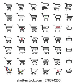 Shopping cart icons set for website