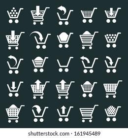 Shopping cart icons vector set, supermarket shopping simplistic symbols vector collections.