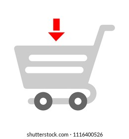 shopping cart illustration, trolley supermarket. buy symbol