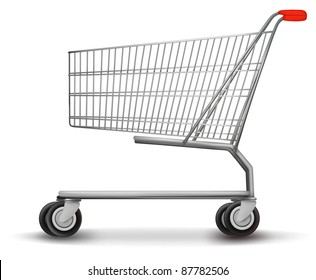 Shopping cart isolated on white background. Vector illustration.