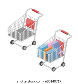 Shopping cart isometric style colorful vector illustration