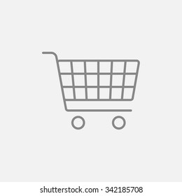 Shopping cart line icon for web, mobile and infographics. Vector dark grey icon isolated on light grey background.
