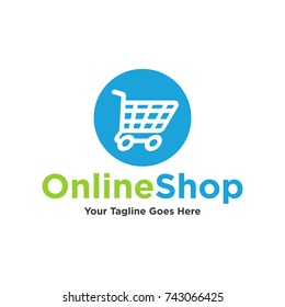 Shopping cart logo and shopping bags logo vector set graphic design. Vector Online Shop Logo Template