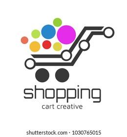shopping cart Logo design vector template concept icon. Logotype for online store