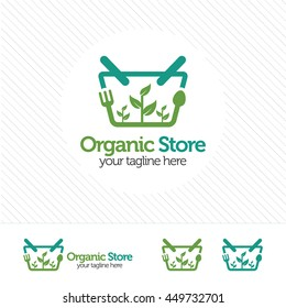 Shopping cart logo design vector ,abstract logo concept for organic store with fork, spoon and leafy plants.