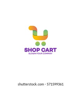 Shopping cart logo yellow green color style on white background use for corporate identity on-line store, nature product shop, on-line shopping. Vector Illustration