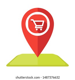 Shopping Cart Map Pin icon vector Logo illustration and design.  A marketplace and online shop location element.  Can be used for web and mobile development. Suitable for infographic