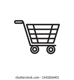 shopping cart market delivery icon vector illustration thick line
