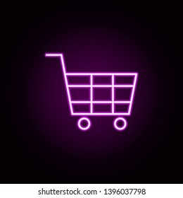 shopping cart neon icon. Elements of Minimal universal theme set. Simple icon for websites, web design, mobile app, info graphics