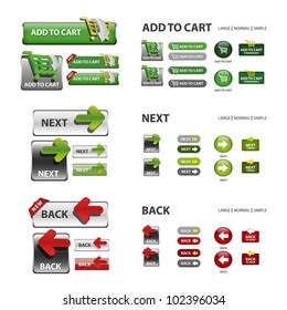 shopping cart, next and back icons / collection of vector icons and buttons - web elements